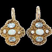 Filigree Vermeil Opal & Topaz Leverback Earrings