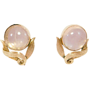 10K Leverback Rose Quartz Earrings Art Deco