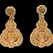 Vintage Miriam Haskell Ornate Filigree Screw Clip Earrings
