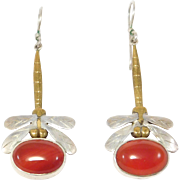 Artisan Mixed Metal Carnelian Dragonfly Earrings