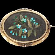 14K Oversize Victorian Pietra Dura Mosaic Brooch 1880