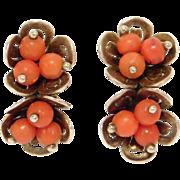 Antique Coral Vermeil Filigree Earrings Leverback