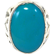 Large Bell Trading Post Silver Turquoise Navajo Ring