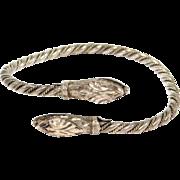 Old 935 European Silver Double Snake Serpent Bypass Bracelet