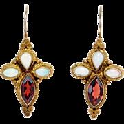 Vermeil Garnets & Opals Estate Earrings So Pretty