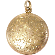 Victorian Engraved ¼ Gold Shell Locket Pretty