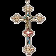 Antique Micro Mosaic Italian Cross Crucifix Roman Monuments