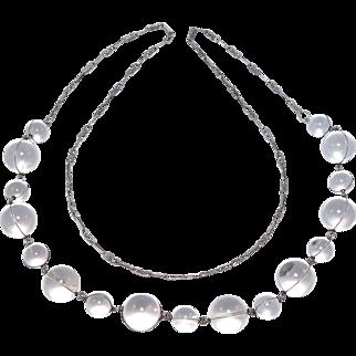 Antique Pools Of Light Silver & Quartz Orb Necklace
