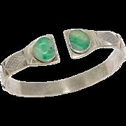 Old Chinese Silver & Carved Jade Bracelet