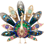 Antique Moghul Enamel & Rose Cut Diamonds Emeralds And Enamel Rubies Peacock Brooch