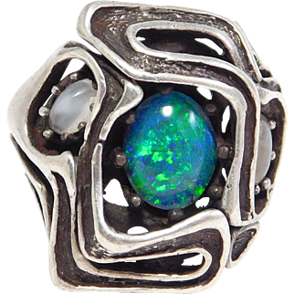 Modernist Silver Moonstone And Opal Doublet Ring