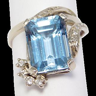 14K Retro Diamonds & Emerald Cut Blue Topaz Ring