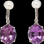 Art Deco Silver Amethyst & Cultured Pearl Earrings