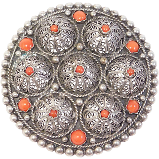Ornate Silver Filigree & Coral Brooch Large Beautiful
