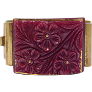 Gorgeous Deco Carved Bakelite Cuff With Metal
