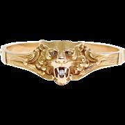 Rare 14K Art Nouveau Lion Head Bracelet With Diamonds