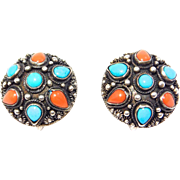 Ornate Chinese Turquoise & Coral Etruscan Silver Earrings