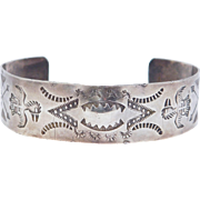 Early Navajo Handstamped Thunderbird & Whirling Log Cuff Bracelet Silver
