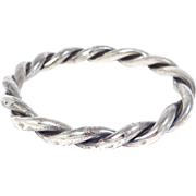 Antique Sterling Braided Double Bangle Bracelet