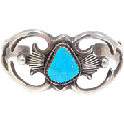 Sandcast Navajo Silver Signed Turquoise Cuff Bracelet