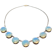 Beautiful Opalescent Crystal Silver Japanese Choker