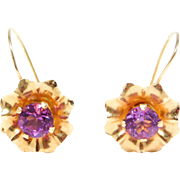 Dainty Elegant 14K Amethyst Flower Earrings