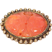 Old Carved Carnelian Agate Chinese Clip