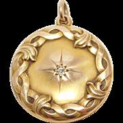Art Nouveau Rose Gold & Diamond Antique Locket