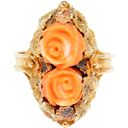 Victorian Rose Gold Ornate Carved Coral Ring