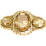 10K Early Victorian Citrine Brooch Engraved