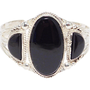 Navajo Silver And Black Onyx 3 Stone Cuff Stampwork