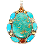 Large Lone Mountain Turquoise Pendant Silver Signed By Artist