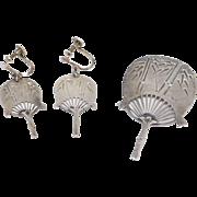 Antique Sterling Engraved Oriental Fan Brooch & Earrings Set