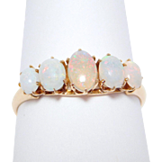 14K Victorian 5 Opals Rose Gold Ring 1880