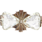Art Deco Fancy Cut Crystal Sterling Brooch