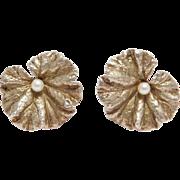 Sterling Ornate Silver Leaf & Cultured Pearl Earrings