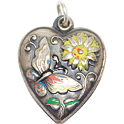 Sterling Antique Puffy Heart Charm Enamel Butterfly