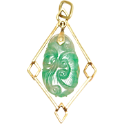 Art Deco Chinese Carved Jade Pendant Lavalier