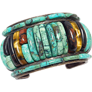 Sterling Silver Cuff Bracelet Aguilar Santo Domingo Turquoise Southwest Tiger Eye