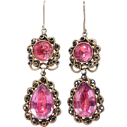 Georgian Earrings Foiled Back Amethyst Silver French Circa 1830 - Red Tag Sale Item