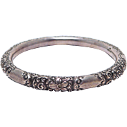 Sterling Silver Bangle Bracelet Victorian Repousse Engraved