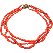 Victorian Natural Coral Beads Necklace Gold Coral Etruscan Clasp