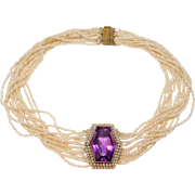 Antique Amethyst 14K Gold Seed Pearls Choker Dog Collar Necklace