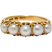 22K Gold Victorian Seed Pearl Ring Five Pearls Antique English