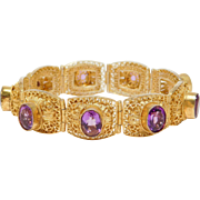 Chinese Natural Amethyst Filigree Vermeil Bracelet Vintage 7 Inches