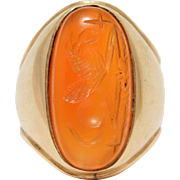 14K Gold Ring Carnelian Intaglio Seal Mythical Griffin Intaglio Antique