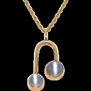 14K Gold Art Deco Natural Moonstones Moonstone Pendant Lavalier Necklace Chain