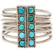 Victorian Silver Persian Turquoise Six Bands Ring Antique