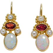 Opal Garnet Seed Pearl Leverback Vermeil Earrings Vintage