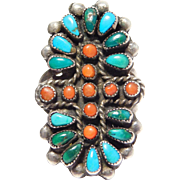 Old Pawn Zuni Turquoise Coral Sterling Silver Ring Petit Point